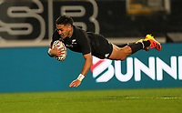 NZ's Rieko Ioane scores during the Bledisloe Cup rugby match between the New Zealand All Blacks and Australia Wallabies at Eden Park in Auckland, New Zealand on Saturday, 14 August 2021. Photo: Simon Watts / lintottphoto.co.nz / bwmedia.co.nz