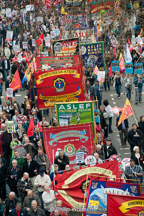 TUC March for the Alternative, protest against public spending cuts, London.