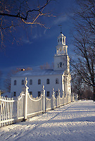 AJ4634, church, Vermont, winter, Picturesque view of the white fence leading up to the Old First Church (Congregational) in Old Bennington on a winter day in Bennington County in the state of Vermont.