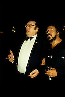 Montreal (QC) CANADA - july  1987 file photo - French comic Raymond Devos at Montreal Juste Pour Rire Festival with Vittorio (R)