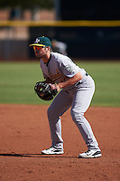 Oakland Athletics Chris Iriart (18) during an instructional league game against the Los Angeles Angels on October 9, 2015 at the Tempe Diablo Stadium Complex in Tempe, Arizona.  (Mike Janes/Four Seam Images)