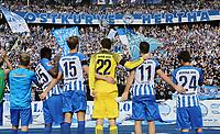 Berliner feiern 2:0 Sieg in Fankurve Ostkurve, Jordan goalunarigha, Sebastian Langkamp, goalkeeper Rune Jarstein, Mathew Leckie, Genki Haraguchi  / Freude / Emotion / celebrationd / celebration    <br /> / Sport / Football Football / DFL 1. Bundesliga Bundesliga  /  2017/2018 / 19.08.2017 / Hertha BSC Berlin vs. VfB Stuttgart 170819021  *** Local Caption *** © pixathlon<br /> Contact: +49-40-22 63 02 60 , info@pixathlon.de