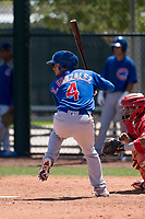 Chicago Cubs catcher Erick Gonzalez (4) at bat during an Extended Spring Training game against the Los Angeles Angels at Sloan Park on April 14, 2018 in Mesa, Arizona. (Zachary Lucy/Four Seam Images)