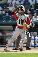 Fort Wayne TinCaps catcher Rodney Daal (6) during a game against the Great Lakes Loons on August 18, 2013 at Dow Diamond in Midland, Michigan.  Fort Wayne defeated Great Lakes 4-3.  (Mike Janes/Four Seam Images)