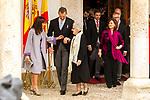 King Felipe VI of Spain, Queen Letizia, Uruguayan poet Ida Vitale and Vicepresident Carmen Calvo (r) during the Cervantes Literature Prize ceremony at the University of Alcala in Madrid on April 23, 2019. (ALTERPHOTOS/Alconada).
