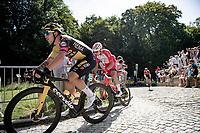 Dylan Groenewegen (NED/Jumbo-Visma) up the infamous Muur van Geraardbergen / Kapelmuur<br /> <br /> 17thBenelux Tour 2021 (2.UWT)<br /> (Final) Stage 7: from Namur to Geraardsbergen (178km)<br /> <br /> ©kramon