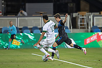 SAN JOSE, CA - SEPTEMBER 19: Carlos Fierro #25 of the San Jose Earthquakes and Julio Cascanter #18 of the Portland Timbers battle for the ball during a game between Portland Timbers and San Jose Earthquakes at Earthquakes Stadium on September 19, 2020 in San Jose, California.