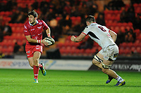 Dan Jones of Scarlets in action during the Guinness Pro14 Round 09 match between the Scarlets and Ulster Rugby at the Parc Y Scarlets Stadium in Llanelli, Wales, UK. Friday 23 November 2018