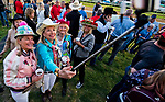 LOUISVILLE, KY - MAY 02: Women take a selfie dressed in their Derby attire during morning workouts at Churchill Downs on May 2, 2018 in Louisville, Kentucky. (Photo by Scott Serio/Eclipse Sportswire/Getty Images)