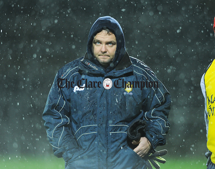 Clare manager Davy Fitzgerald heads for the dressing room after the final whistle following the loss to Tipperary in the Waterford Crystal Final at The Gaelic Grounds. Photograph by John Kelly.