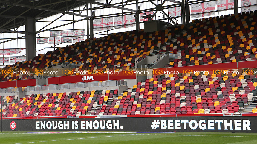 A social media ban from EFL football clubs this weekend as Brentford FC say enough is enough with appropriate signage around the ground ahead of kick-off during Brentford vs Watford, Sky Bet EFL Championship Football at the Brentford Community Stadium on 1st May 2021