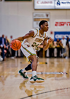 16 March 2019: University of Vermont Catamount Guard Ben Shungu, a Redshirt Sophomore from Burlington, VT, in second half action against the UMBC Retrievers in the America East Championship Game at Patrick Gymnasium in Burlington, Vermont. The Catamounts defeated the Retrievers 66-49, avenging their loss against the same team in last years' Championship Game. Mandatory Credit: Ed Wolfstein Photo *** RAW (NEF) Image File Available ***