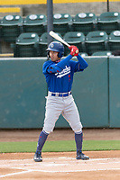Rancho Cucamonga Quakes center fielder Jeren Kendall (24) during a California League game against the Visalia Rawhide on April 8, 2019 in Visalia, California. Rancho Cucamonga defeated Visalia 4-1. (Zachary Lucy/Four Seam Images)