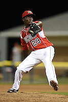 Batavia Muckdogs pitcher Juancito Martinez (29) delivers a pitch during a game against the Brooklyn Cyclones on August 9, 2014 at Dwyer Stadium in Batavia, New York.  Batavia defeated Brooklyn 4-2.  (Mike Janes/Four Seam Images)