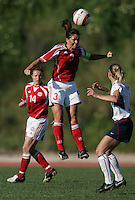 MAR 11, 2006: Quarteira, Portugal:  Denmark defender (3) Katrine Pedersen heads the ball while playing the USWNT at the Algarve Cup in Quarteira, Portugal.