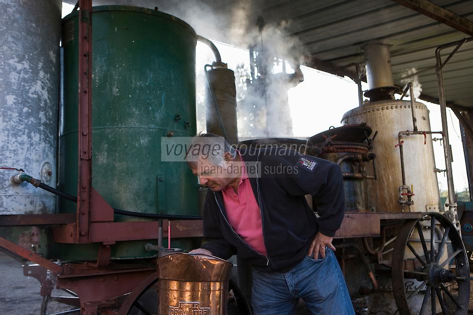 Europe/France/Midi-Pyrénées/46/Lot/Cavagnac: Bouilleur de cru Ambulant - Daniel Chambon chef du restaurant: Le Pont de l'Ouysse déguste l'eau de vie de prune à la sortie de l'alambic