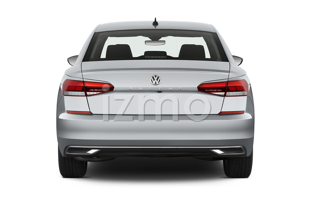 Straight rear view of 2020 Volkswagen Passat SE 4 Door Sedan Rear View  stock images