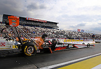 Feb 7, 2014; Pomona, CA, USA; NHRA top fuel dragster driver Clay Millican during qualifying for the Winternationals at Auto Club Raceway at Pomona. Mandatory Credit: Mark J. Rebilas-