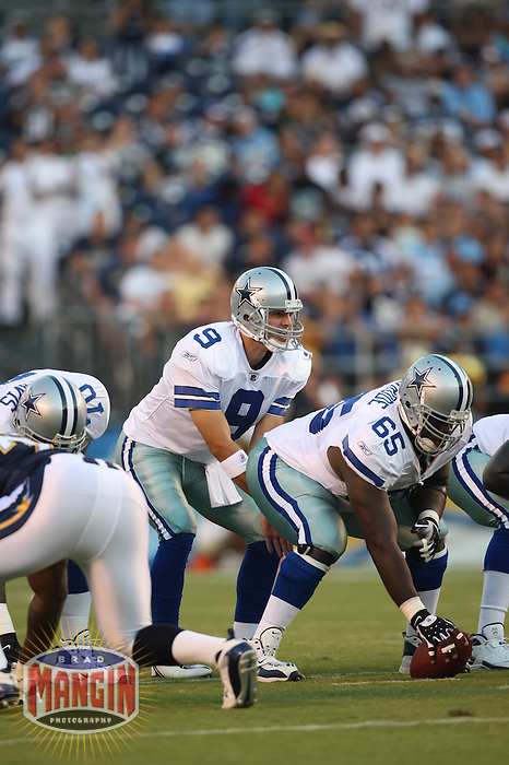 SAN DIEGO - AUGUST 9:  Quarterback Tony Romo of the Dallas Cowboys in action during their exhibition game against the San Diego Chargers at Qualcomm Stadium in San Diego, California on August 9, 2008.  Photo by Brad Mangin