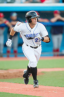 Hunter Lockwood (23) of the Hudson Valley Renegades hustles down the first base line against the Brooklyn Cyclones at Dutchess Stadium on June 18, 2014 in Wappingers Falls, New York.  The Cyclones defeated the Renegades 4-3 in 10 innings.  (Brian Westerholt/Four Seam Images)