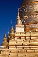 Myanmar, Burma.  Stupa Detail, Soon U Ponya Shin Pagoda, Sagaing Hill, Buddhist Temple near Mandalay.