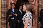 Spanish Royals King Felipe VI of Spain and Queen Letizia of Spain receive Paraguayan President Horacio Manuel Cartes Jara at the Royal Palace in Madrid, Spain. June 09, 2015. (ALTERPHOTOS/Pool)