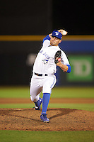 Dunedin Blue Jays relief pitcher Brad Allen (25) delivers a pitch during a game against the Palm Beach Cardinals on April 15, 2016 at Florida Auto Exchange Stadium in Dunedin, Florida.  Dunedin defeated Palm Beach 8-7 in ten innings.  (Mike Janes/Four Seam Images)