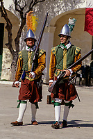 Valletta, Malta.  Medieval Riflemen in Costume for Historic In Guardia Re-enactment, Fort Saint Elmo.