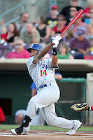 Stockton Ports outfielder Michael Choice #14 bats against the Inland Empire 66'ers at Arrowhead Credit Union Park on September 4, 2011 in San Bernardino,California. Stockton defeated Inland Empire 3-0.(Larry Goren/Four Seam Images)