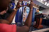 Jen Psaki, White House press secretary, introduces Olivia Rodrigo, during a news conference in the James S. Brady Press Briefing Room with Jen Psaki, White House press secretary, at the White House in Washington, D.C., U.S., on Wednesday, July 14, 2021.<br /> CAP/MPI/RS<br /> ©RS/MPI/Capital Pictures