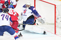 29th May 2021; Olympic Sports Centre, Riga, Latvia; IIHF World Championship Ice Hockey, Czech Republic versus Great Britain;  goalkeeper Jackson Whistle Great Britain makes a diving save