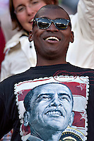USA fans (wearing a Barack Ombama t-shirt) in the stands before the game against Slovenia