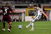 Manuel Locatelli of Juventus FC scores the goal of 0-1 during the Serie A 2021/2022 football match between Torino FC and Juventus FC at Stadio Olimpico Grande Torino in Turin (Italy), October 2nd, 2021. Photo Federico Tardito / Insidefoto