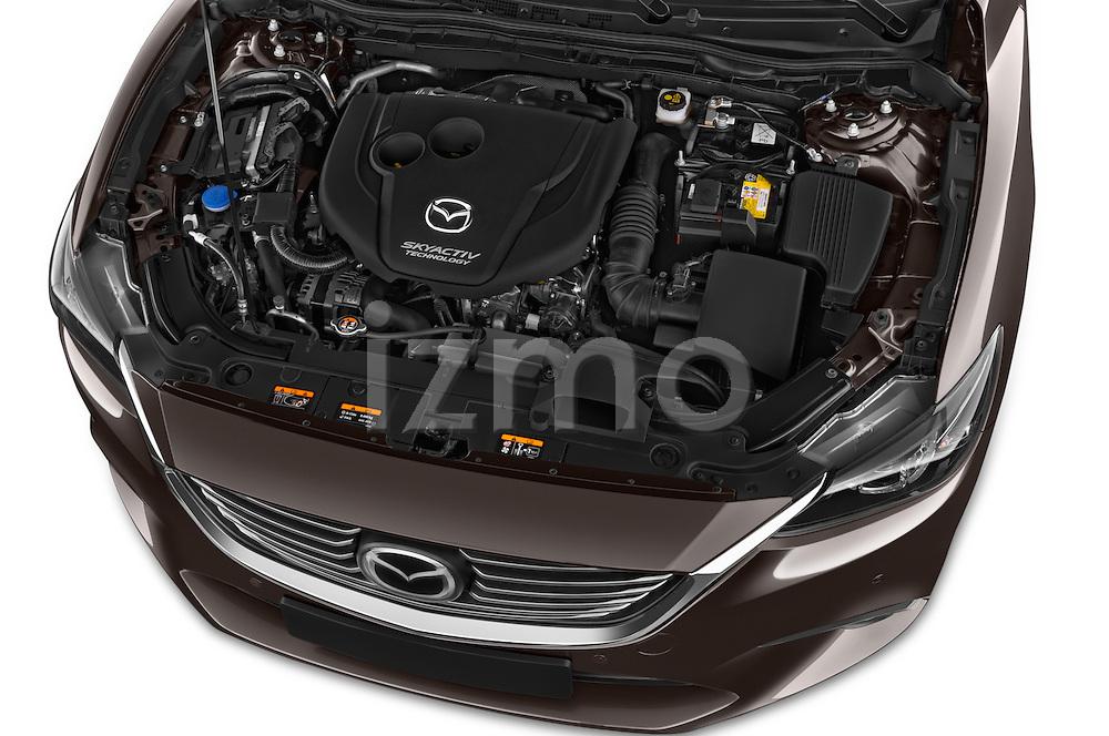 Car Stock 2015 Mazda Mazda 6 Skycruse 5 Door Wagon Engine high angle detail view