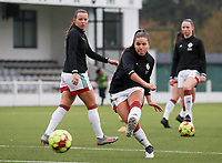 Luna Vanzeir of OHL (10) shoots at the goal during the warm up before a female soccer game between Oud Heverlee Leuven and Femina White Star Woluwe  on the 5 th matchday of the 2020 - 2021 season of Belgian Womens Super League , Sunday 18 th of October 2020  in Heverlee , Belgium . PHOTO SPORTPIX.BE | SPP | SEVIL OKTEM