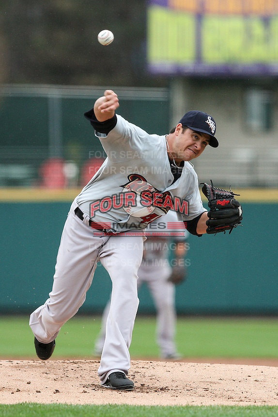 Scranton Wilkes-Barre Railriders starting pitcher Anthony Swarzak (40) throws a pitch against the Rochester Red Wings on May 1, 2016 at Frontier Field in Rochester, New York. Red Wings won 1-0.  (Christopher Cecere/Four Seam Images)