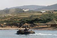 - military polygon of cape Teulada (Sardinia), amphibious armored vehicle LVTP of S.Marco battalion, US Marines CH 46 helicopters....- poligono militare di Capo Teulada (Sardegna), veicolo blindato anfibio LVTP del battaglione S.Marco, elicotteri CH 46 dei Marines USA