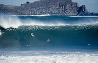 Mundaka river-mouth during an epic swell in November 1989. Mundaka, Basque Country, Spain. Photo: joliphotos.com