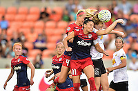 Houston, TX - Sunday Oct. 09, 2016: Megan Oyster, Ali Krieger, Samantha Mewis during the National Women's Soccer League (NWSL) Championship match between the Washington Spirit and the Western New York Flash at BBVA Compass Stadium.