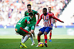 Thomas Lemar of Atletico de Madrid (R) is tackled by Martin Aguirregabiria of Deportivo Alaves during the La Liga 2018-19 match between Atletico de Madrid and Deportivo Alaves at Wanda Metropolitano on December 08 2018 in Madrid, Spain. Photo by Diego Souto / Power Sport Images