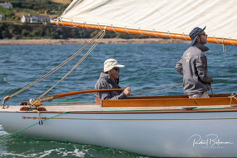 Internationally famous Cork yacht racing skipper and match racer Harold Cudmore took the helm of the restored Cork Harbour One Design Jap for the celebrations Photo: Bob Bateman