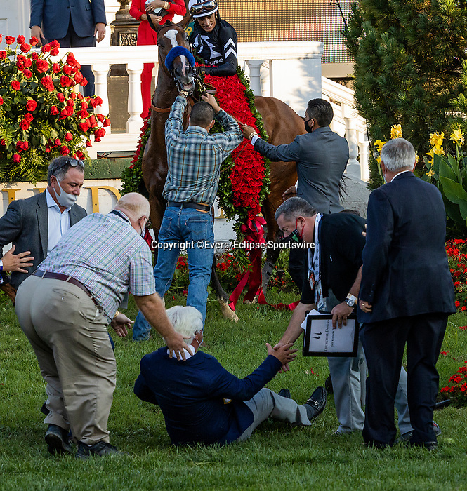 September 5, 2020: Bob Baffert is. thrown to the ground by Authentic during the winners circle celebration at 2020 Kentucky Derby at Churchill Downs in Louisville, Kentucky, on September 05, 2020. Evers/Eclipse Sportswire/CSM