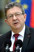 Paris (75),Le President de la Republique, Franeois HOLLANDE, recoit samedi 25 juin 2016 les representants des partis politiques francais au Palais de l Elysee. Parti de Gauche, Jean-Luc MELENCHON,