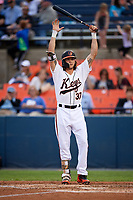 Baltimore Orioles Colby Rasmus (37), on rehab assignment with the Frederick Keys, stretches while at bat during the second game of a doubleheader against the Lynchburg Hillcats on June 12, 2018 at Nymeo Field at Harry Grove Stadium in Frederick, Maryland.  Frederick defeated Lynchburg 8-1.  (Mike Janes/Four Seam Images)