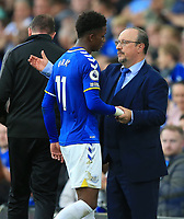 25th September 2021; Goodison Park, Liverpool, England; Premier League football, Everton versus Norwich; Everton manager Rafa Benitez shakes hands with Demarai Gray of Everton as he is substituted
