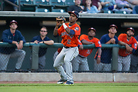 Osvaldo Duarte (2) of the Buies Creek Astros catches a foul pop fly during the game against the Winston-Salem Dash at BB&T Ballpark on April 13, 2017 in Winston-Salem, North Carolina.  The Dash defeated the Astros 7-1.  (Brian Westerholt/Four Seam Images)