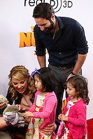 """LOS ANGELES, CA - JANUARY 11: Actress Katherine Heigl and daughter Nancy Leigh Kelley, husband Josh Kelley and daughter Adalaide Marie Hope Kelley arrive at the World Premiere Of Open Road Film's """"The Nut Job"""" held at Regal Cinemas L.A. Live on January 11, 2014 in Los Angeles, California. (Photo by Xavier Collin/Celebrity Monitor)"""