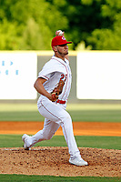 Greeneville Reds pitcher Max Wotell (25) on the mound during a game against the Bristol Pirates at Pioneer Field on June 20, 2018 in Greeneville, Tennessee. Bristol defeated Greeneville 11-0. (Robert Gurganus/Four Seam Images)