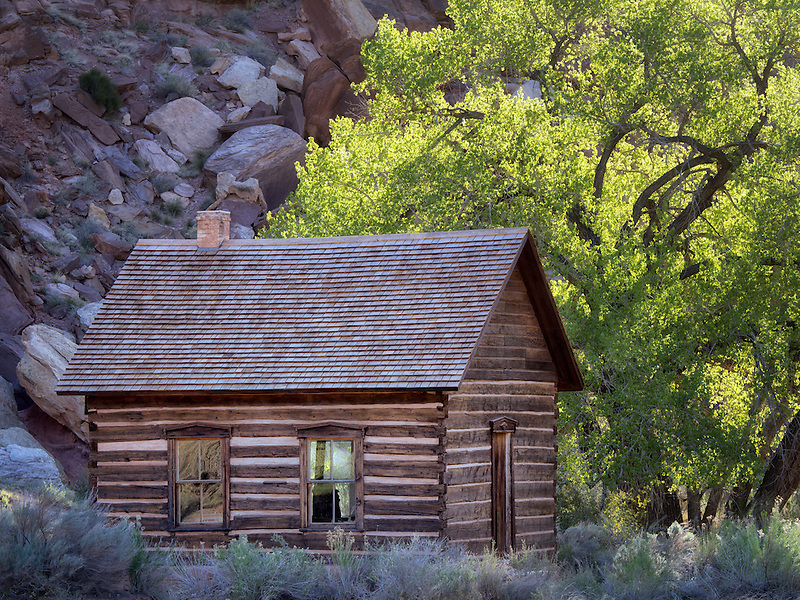 Fruita Schoolhouse. and cottonwood trees. Capitol Reef National Park, Utah