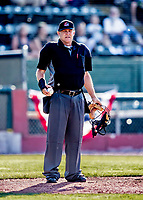 12 June 2021: Umpire Doug Isham works home plate during a game between the Westfield Starfires and the Vermont Lake Monsters at Centennial Field in Burlington, Vermont. The Lake Monsters defeated the Starfires 4-1 at Centennial Field, in Burlington, Vermont. Mandatory Credit: Ed Wolfstein Photo *** RAW (NEF) Image File Available ***